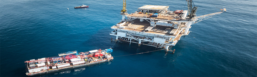 Barge Accessing Offshore Drilling Oil Platform Rig - Oil & Gas